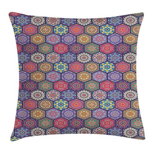 FAFANI Mandala Throw Pillow Cushion Cover, Hexagonal Pattern with Orient Cultural Arrangement and Antique Ancient Flowers, Decorative Square Accent Pillow Case, 18 X 18 inches, Multicolor
