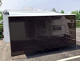 Tentproinc RV Awning Sun Shade Screen 7' X 11' 3'' - Brown Mesh Sunshade UV Blocker Complete Kits Motorhome Camping Trailer Canopy Shelter - 3 Years Limited Warranty