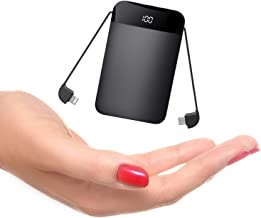 Mobile Powerbank 9000mAh Ultra Slim Quick Charge Portable Phone Charger Power Bank External Battery Charger with LCD Display Built in Cables for Android, iPhone, iPad, Samsung Galaxy and More
