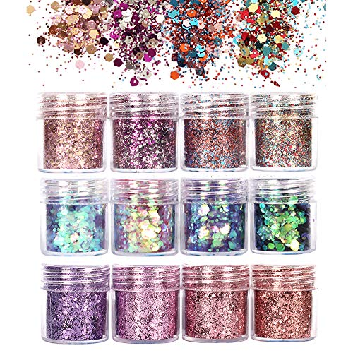GCOA Purpurinas Polvo, Chunky Glitter Flakes paillette para rostro maquillaje de ojos cabello body art -12 Cajas