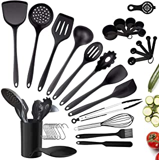 35pcs Ustensiles de Cuisine Silicone, Ustensiles de Cuisine Noir avec Support, Set de Cuisine Antiadhésive Anti-Rayure Spa...