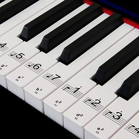 Pegatinas de piano para 88/61/54/49 Etiquetas de los teclados de teclas Conjunto completo para aprender piano (negro) (bl)