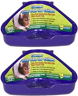 Ware 2 Pack of Corner Litter Pans for Hamsters Gerbils and Dwarf Hamsters, Assorted Colors