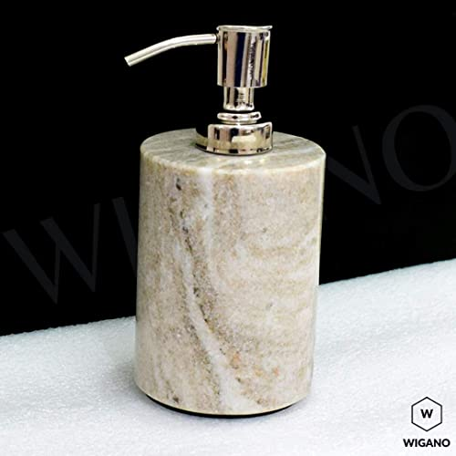 WIGANO Stone Made Liquid Soap Dispenser Bathroom Accessories with Chrome Polish Pump for Room/Luxury Hotel Bathrooms