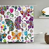 zhanghui2018 Duschvorhang mit 12 Haken, Gelb auf weißem Hintergr&, Blau mit schönen Schmetterlingen & Blumen, langlebiger Stoff, Schimmelpilz, Badezimmerzubehör, kreativ, 180 x 180 cm