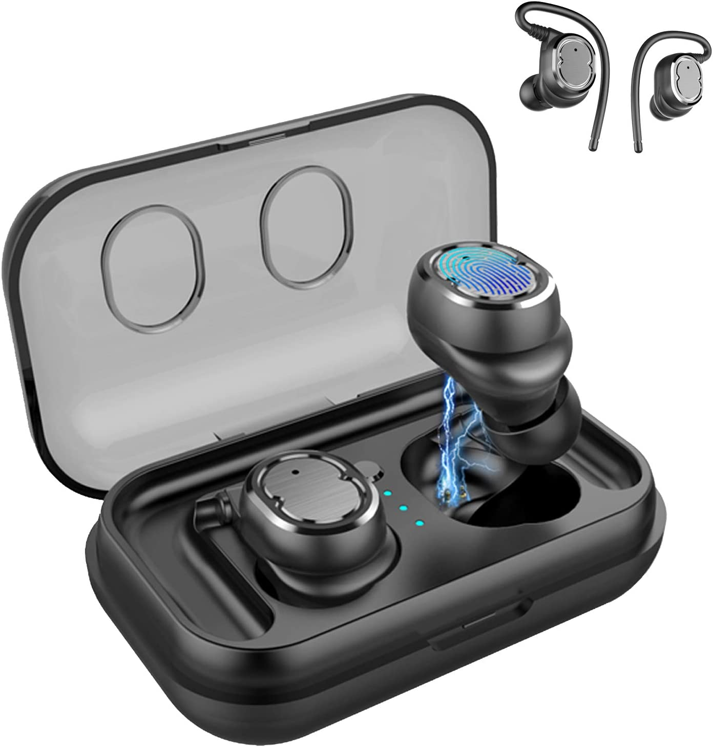 Bluetooth Earbuds,Wireless Headphones,Bluetooth Headset,Sports Earphones with Earhooks,Car Headset with Mic for iPhone and Android Smart Phones,25H Playtime,Stereo Sound with Charging Case (White)