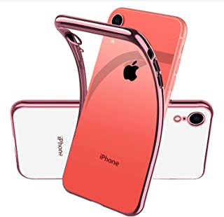 Clear Protective Case for Apple iPhone XR IphoneXR,Silicone Soft Phone Cover with Rose Gold TPU Electroplated Bumper and Transparent Back,Ultra Slim/Thin/Fit,Liquid Crystal Design,Anti Yellow/Scratch