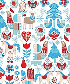 Nordic Christmas Wrapping Paper, 2 feet x 20 feet Blue, Red and Tan Scandinavian Christmas Gift Wrap Roll, WRAP & Revel® R