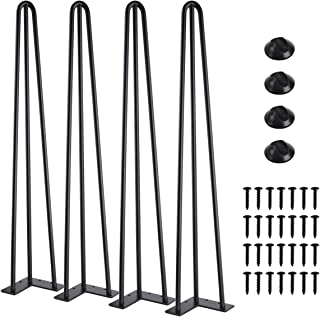 "SMARTSTANDARD 28"" Heavy Duty Hairpin Coffee Table (Black) 1/2"" Thick Set of Four (Legs x 4), 28 Inch 4PCS"