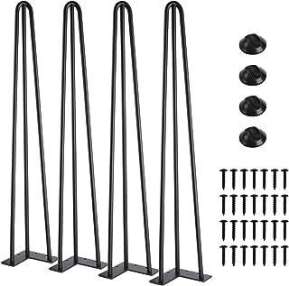 "SMARTSTANDARD 28"" Heavy Duty Hairpin Coffee Table (Black) 1/2"" Thick Set of Four (Legs x 4), 28 Inch 4PCS"