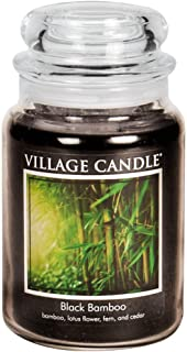 Village Candle Black Bamboo Large Glass Apothecary Jar Scented Candle, 21.25 oz