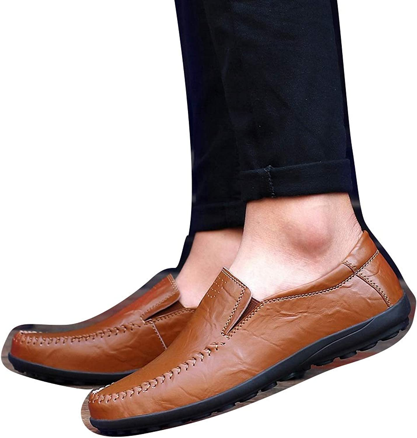 Men's Casual shoes A Pedal Leather shoes Loafers Summer Breathable Peas shoes Cricket shoes (color   Red Brown, Size   41)