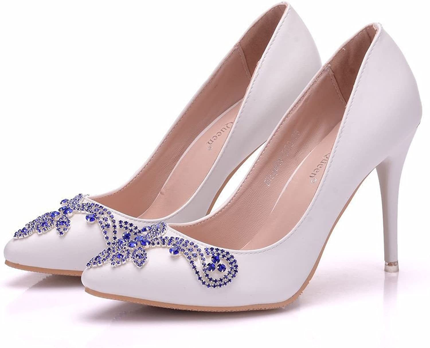 HYP Wedding Women shoes Wedding shoes Women Pumps Closed Toe Wedding Party Court shoes Bridesmaid Bridal shoes High-Heeled fine Drill with Water.