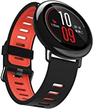 EL-move 22mm Silicone Wristwatch Watch Band Watchband Fitness Sport Bracelet Strap for Samsung Gear S3 Frontier/S3 Classic/Samsung Gear 2/Pebble Time/LG W100 (Black Red)