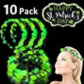 10 Pack St. Patrick's Day Green LED Headband Flower Crowns Decorations, St. Patrick's Day Accessories Adjustable Carnival Party Favors Gifts for St Patricks Day Women Girls Parade Holiday Party