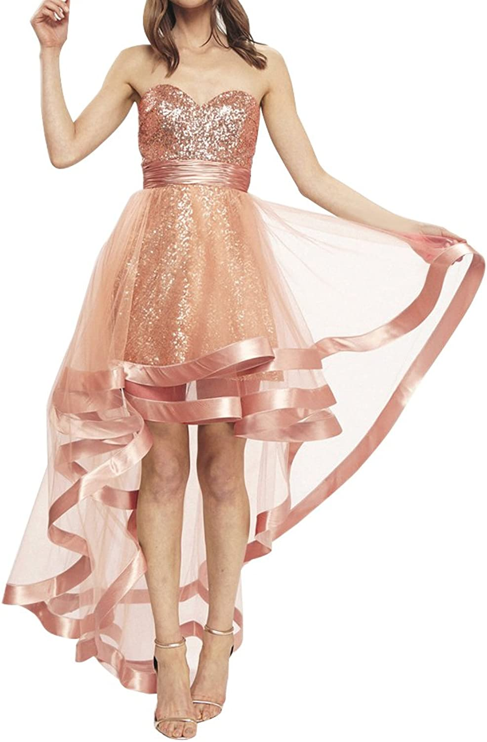 Sequined High Low Homecoming Dress Strapless Sweetheart ALine Prom Evening Gown