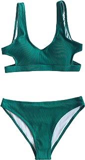 Women's Emerald Velvet Solid Backless Bikini with Cutout