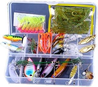 Juego de 90 señuelos de pesca mixtos en una caja de plástico y manivela de metal VIB suave Grub/camarones/rana