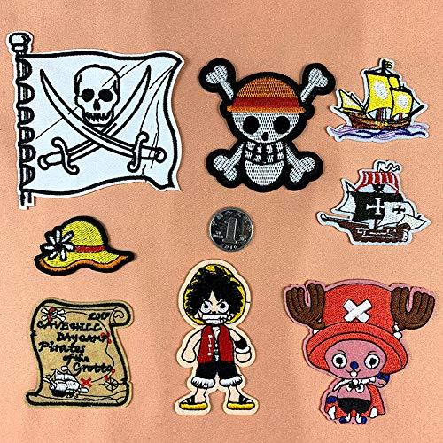 Coser O Planchar En Los Parches Apliques Para Ropa Camiseta Jeans Sombrero Bolsas, 8pcs sombrero de hierba de dibujos animados pirata lindo
