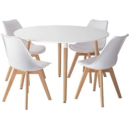 Happy Garden Ensemble Table Ronde 120cm Martha et 4 chaises Nora Blanc