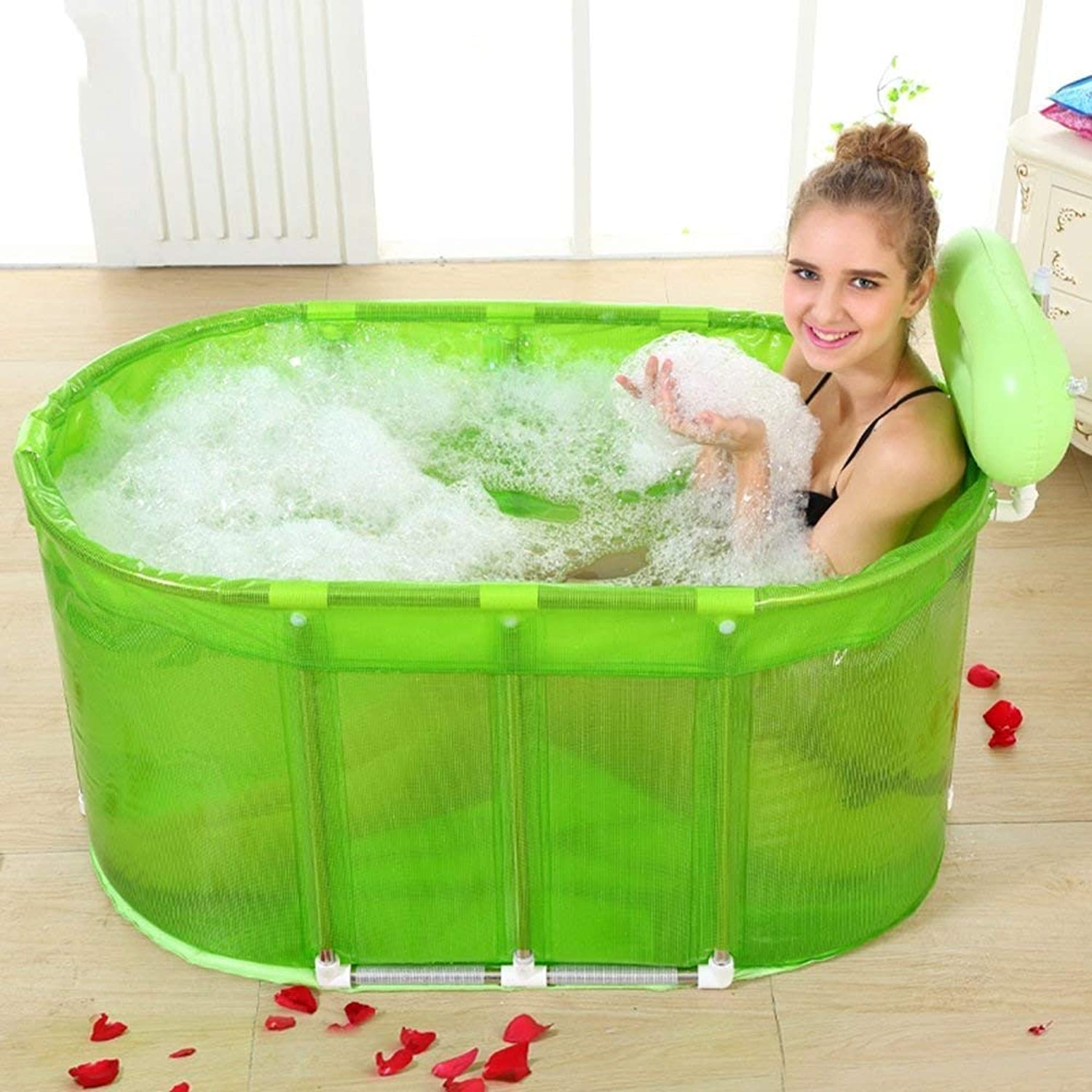 Bathtub, Pools Folding Tub Sauna and Dual-use Plus Large Foam Bucket Adult Stainless Steel stentBathtubs Inflatable -A