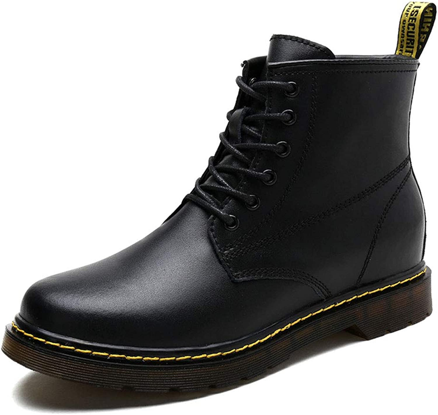 Men's shoes, Leather Plus Velvet Ankle Boots Fall Winter New Increased Martin Boots Outdoor Lace-Up Hiking shoes,A,41