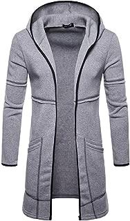 Forthery-Men Long Sleeve Draped Lightweight Open Front Shawl Collar Longline Cardigan