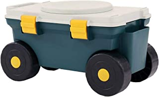 Oypla Outdoor Garden Rolling Tool Cart Storage Box with Rotating Seat