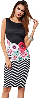 Women's Sleeveless Floral Work Party Cocktail Bodycon Dress
