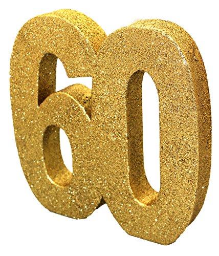 Creative Converting H105 Goldene Glitzer-Zahl 60 Tischdekoration – 1 Stück, 60th