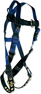 Fall Tech 7016X/2X Contractor Full Body Harness with 1 D-Ring and Tongue Buckle Leg Straps, Universal Fit