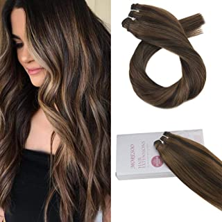 Moresoo 24 Inch Hair Weft Extensions Human Hair Colorful Darkest Brown #2 Highlights with #8 Brazilian Human Hair Sew in Weft Hair Extensions 100g Per Package
