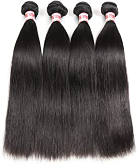 Hermosa Brazilian Straight Hair 4 Bundles 14 16 18 20inch 9A Unprocessed Virgin Straight Human Hair Weave Bundles Natural Black Remy Hair