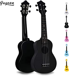 Soprano Ukulele Hawaiian Guitar Musical Instrument with Nylon Strings for Students Beginners Kids Students, FUYXAN 21 Inch Ukulele Toy for Kids Starter Uke for Gift, Black