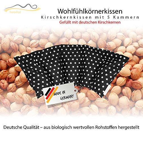 Cojín de huesos de cereza / Almohada relajante para el tratamiento térmico – Almohada para calentar en microondas (Resistente al calor) // 5 divisiones //disponible en 18 colores (negro)