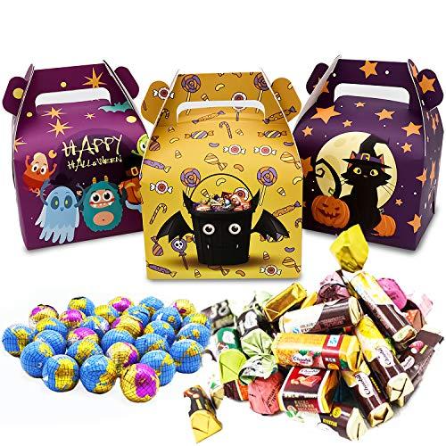 Party-Geschenkbox, Bunte Halloween-Party-Geschenkdekorationen mit 3 verschiedenen Monstermustern, verwendet für Halloween, Weihnachten, Kindergeburtstagsfeiern, Horror-Themenpartys (24 Stück)