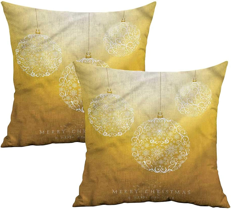 Khaki home Christmas Square Travel Pillowcase Round Bauble in Air Square Kids Pillowcase Cushion Cases Pillowcases for Sofa Bedroom Car W 20  x L 20  2 pcs