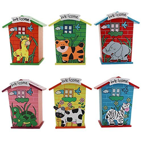 HOME BUY Return Gifts Piggy Bank Wood House Animal Designs 1j251