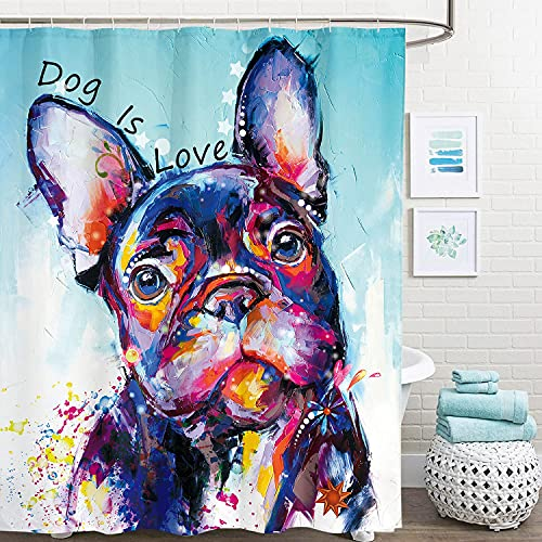 Miyotaa Dog Funny Abstract Oil Painting Shower Curtain Set 60Wx71H Inches Colorful Pet Cute Puppy Artwork Animal Polyester Waterproof Cloth Bathroom Curtain with 12 Hooks