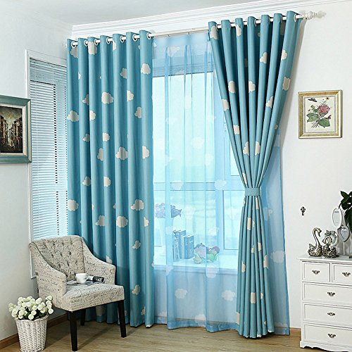 pureaqu Cartoon White Clouds Blue Sheer Curtains for Kids Children Room Kitchen Rod Pocket Top Voile Window Treatment Panels Drapes for Living Room Nursery Bedroom 1 Panel W52 H96 Inch