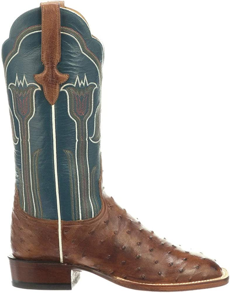 Lucchese Womens Maggie Ostrich Snip Toe Boots Mid Calf Low Heel 1-2