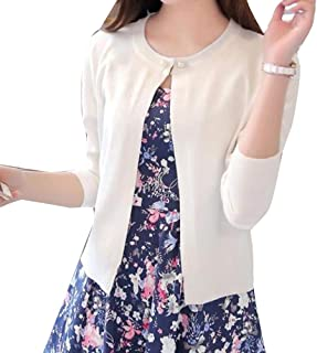 Guiran Women Long Sleeve Lightweight Knitted Cropped Cardigan Jumper Jacket Slim Fit