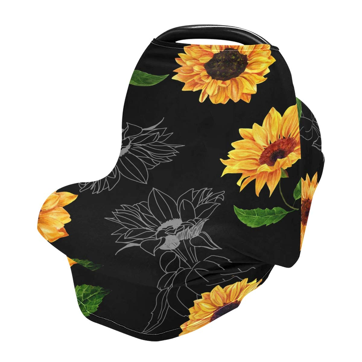 Nursing Cover Breastfeeding Memphis Mall Popular popular Scarf Black Sunflowers Background- B