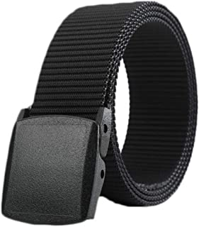 e1ba44e00042a Skytouch Men's Nylon Canvas Breathable Military Tactical Waist Belt with  Plastic Buckle (Black, Free