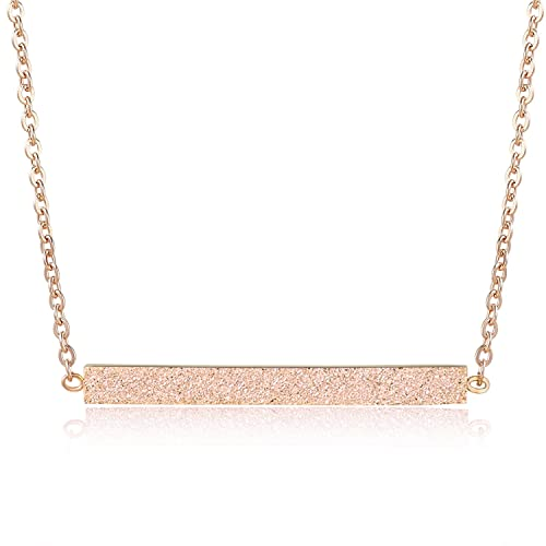 fe7a6072182923 Rosa Vila Minimalist Bar Necklace, Rose Gold Necklace, Bar Necklaces Women, Rose  Gold