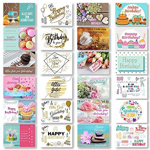 Domelo Geburtstagskarten 24er Set mit Umschlag, Happy Birthday Postkarten, Kraftpapier Karten zum Geburtstag, Geburtstagskarte für Mann/ Frau/ Kinder, Postkarte als Grußkarten (Set 1)