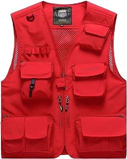 Gocgt Men's Casual Outdoor Work Vest Pockets Fishing Photo Journalist Vest Jacket