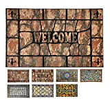 LucaHome - Felpudo entrada casa de Goma-Flocada TEXAS 45x75 cm forma base Antideslizante, Felpudo Premium, fácil limpieza, felpudo absorbente acolchado, Fepudo para Exterior e Interior (Welc Ladrillo)