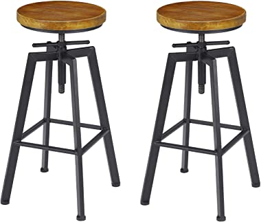 VILAVITA 2-Set Bar Stools, 24.8 Inch to 30.8 Inch Adjustable Height Swivel Counter Height Bar Chair, Retro Finish Industrial