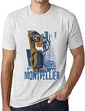 Hombre Camiseta Vintage T-Shirt Gráfico Montpellier Lifestyle Blanco Moteado